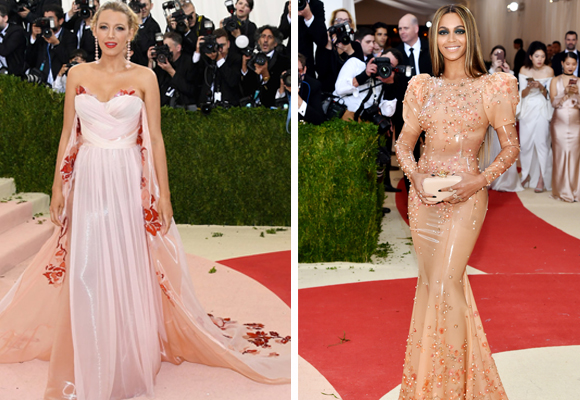 Dos estilos muy distintos: la dulzura de Blake Lively y el vestido de látex de Beyoncé