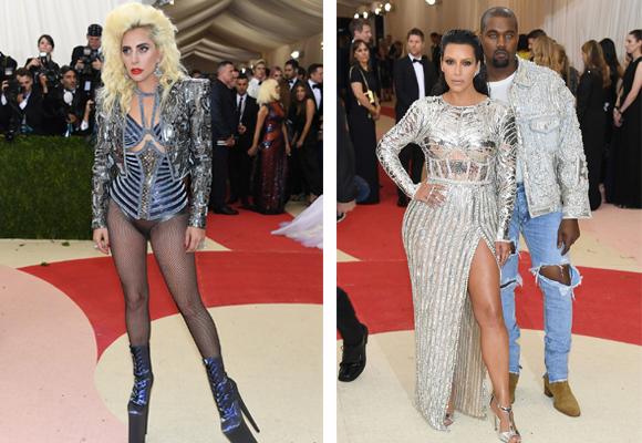 El look imposible de Lady Gaga y Kim Kardashian y Kanye West de Balmain