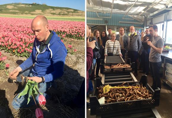 Rik Pennings maneja 10 hectáreas de flores (izda) y Richard van Ruiten explicando el proceso de selección de las papas de gloriosas (dcha)