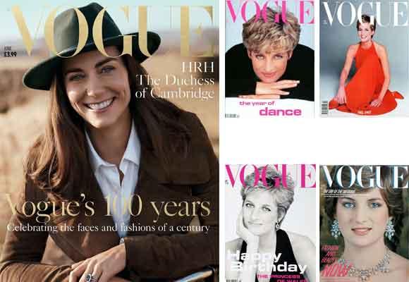 Kate protagoniza la portada de junio de este año, igual que hiciera su suegra, Lady Diana, en cuatro ocasiones