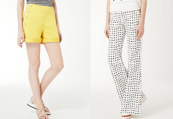 Shorts amarillos y pantalón palazzo. Ambos de Max Mara