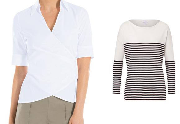 Camisa blanca de aires masculinos de Escada y jersey marinero de
