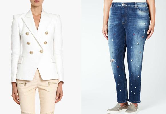 Una americana básica de y unos jeans (estos de Marina Rinaldi), claves en tu armario