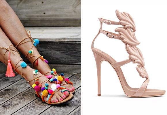 Sandalias con pompones y otras más elegantes para la noche de