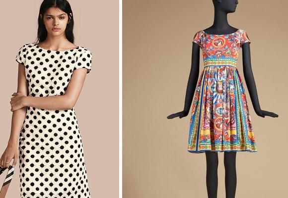 Vestido de lunares de Burberry y estampado de Dolce & Gabbana