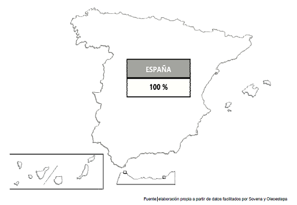 Mapa del origen del Aceite de Mercadona España
