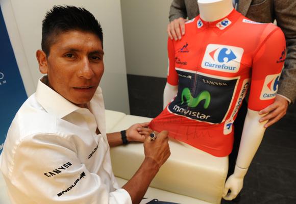 Nairo Quintana, durante la presentación del acuerdo