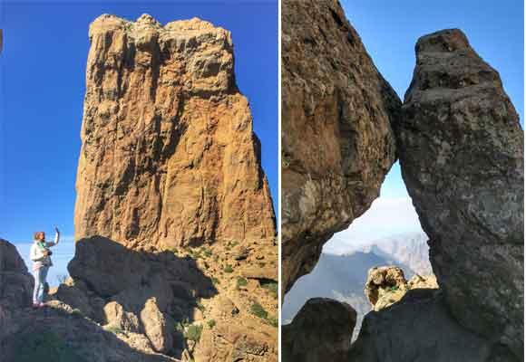 Carla en la base del Roque Nublo y siluetas desde allí