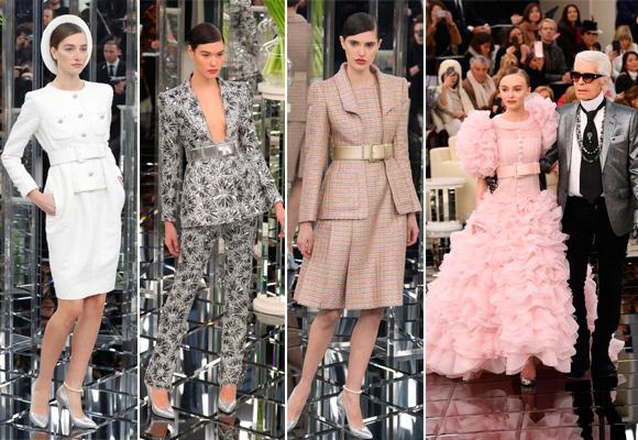 Trajes de tweed y cintures en el desfile de Chanel