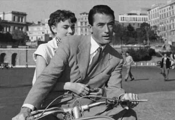 Haudrey Hepburn y Gregory Peck en Vacaciones en Roma
