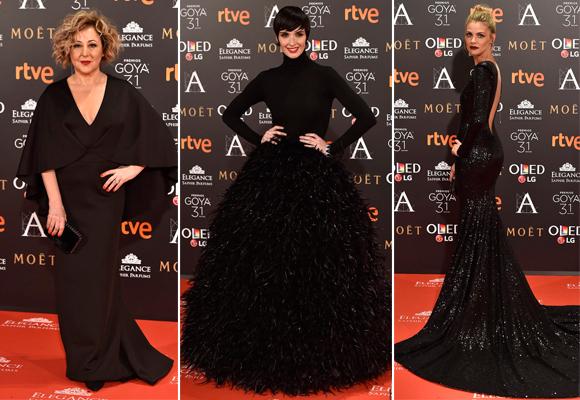 Todo al negro. Muy elegantes Carmen Machi, Paz Vega y Amaia Salamanca