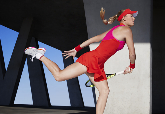 a3e5100a918 Caroline Wozniacki, will wear the new adidas by Stella McCartney Barricade  dress in the stunning pink/orange colourway. Using seamless structures to  create ...